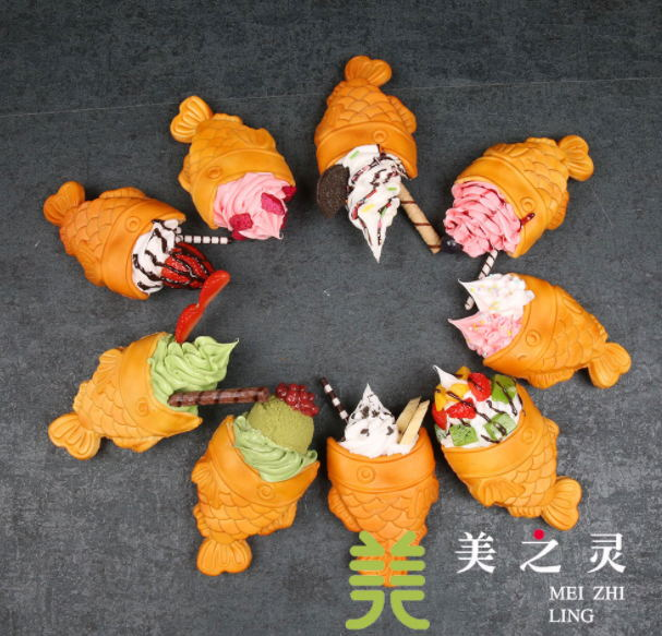 Simulation Ice Cream Fish Taiyaki Food Model; Snack Cone ;Fake Fish Waffle Sample For Window Display