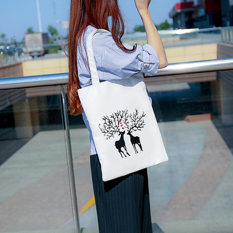 Simple Pattern Design Canvas Tote Shoulder Versatile Zipper Shopping White Bags Women Girls Painting Beach Handbag