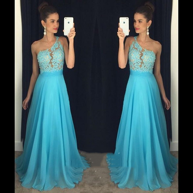 Under 100 Long Bridesmaid Dresses 2017 Summer Blue Chiffon Lace Beaded One Shoulder Maid Of