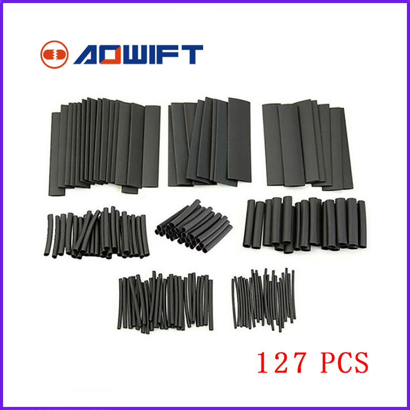 127pcs Heat clear Shrink set Shrinking Shrinkable Black heatshrink Tubing tube 20mm Sleeve Crimp Assortment Wrap Wire krimpkous цена 2017