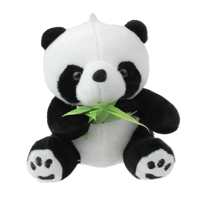 Plush Toy Panda With Bamboo Leaf Stuffed Soft Animal Doll Kawaii Mini Panda Toys Cartoon Gift for Kids 12CM