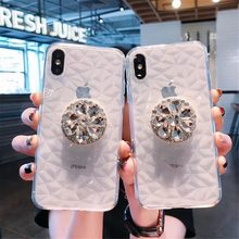 Funda suave de diamante de lujo HUANQING para iPhone 7 8 6s Plus Bling Clear TPU transparente funda a prueba de golpes para iPhone X XR XSMAX(China)