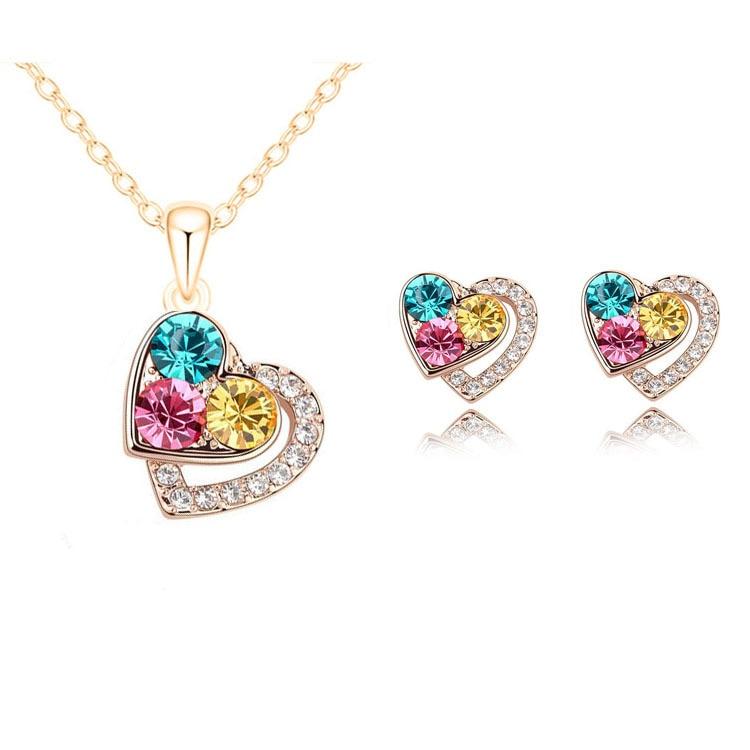 2015 nueva llegada de cristal de corazón de moda traje de juegos de joyas para mujer collar de colgantes pendientes conjuntos