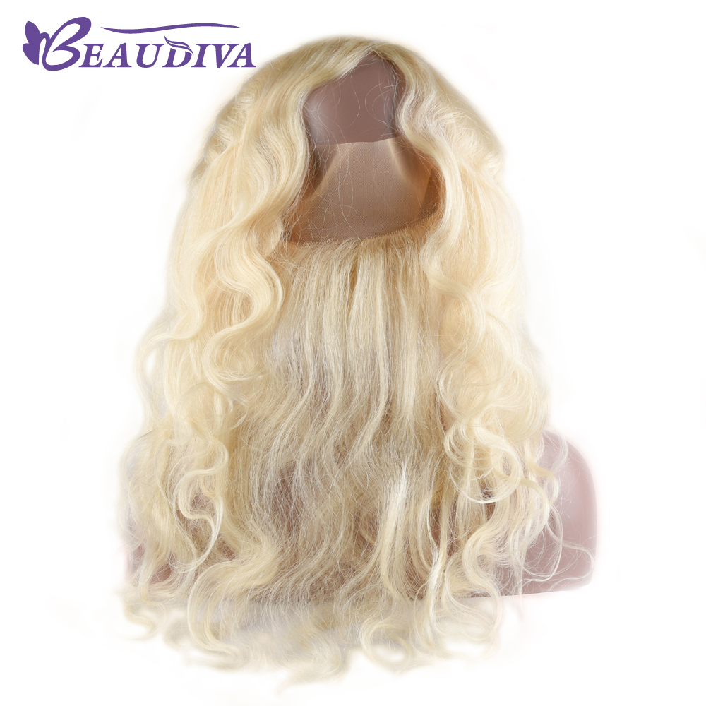 Beaudiva Pre-Colored 613 Blonde Brazilan Raw Hair Body Wave 4 Bundles With 360 Lace Frontal Closure Human Hair Extension
