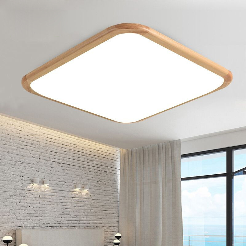 Modern LED ceiling lamp Solid wood led ceiling round small room aisle lights living room bedroom wooden lamps 110V/220V led circular ceiling lamps chinese real wood art acrylic modern minimalist bedroom study decorated living room ceiling lights za