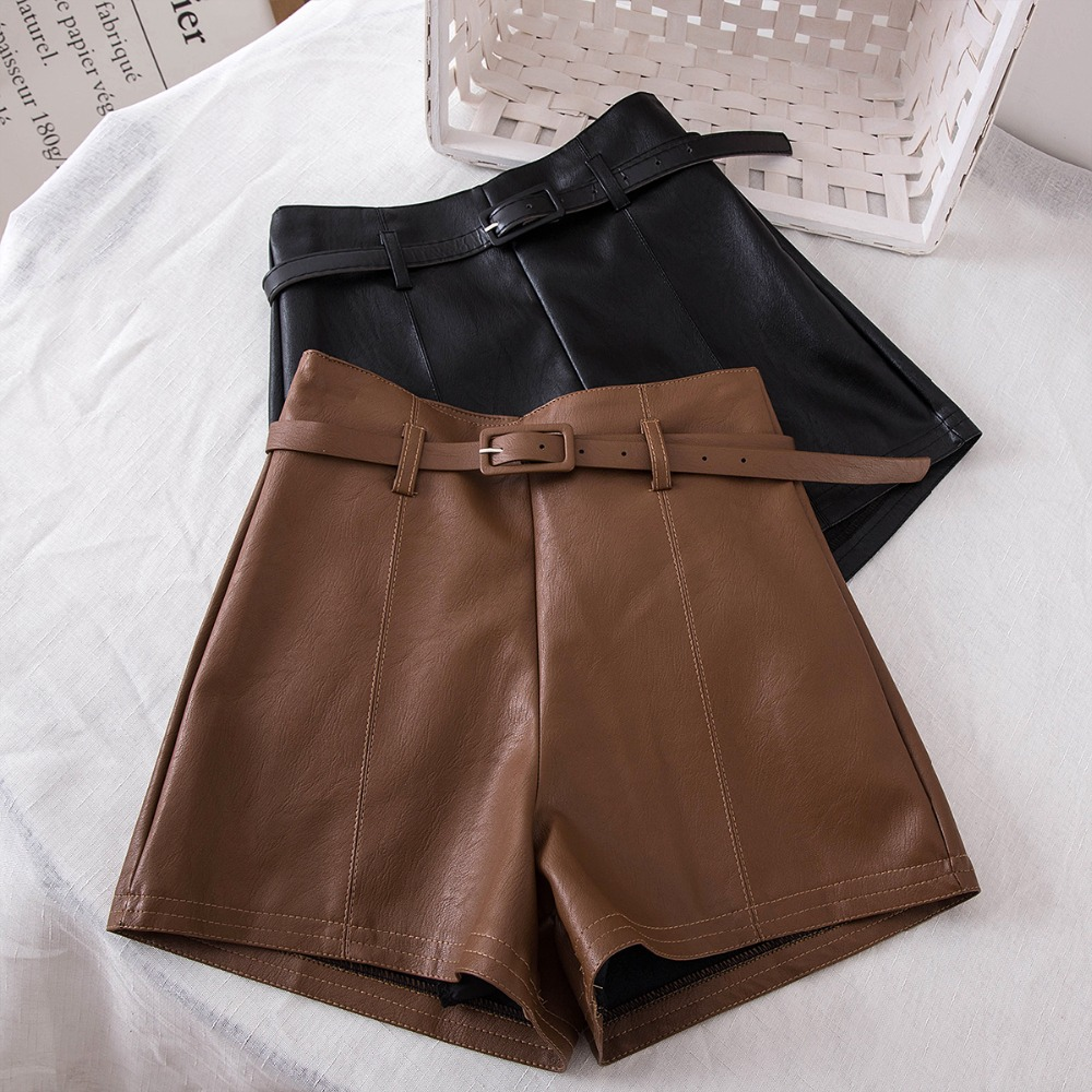 MUMUZI High Waist PU Leather   Shorts   Women Cool Punk Sashes Wide leg   Shorts   Autumn Winter Casual Loose Leather   Shorts   2018