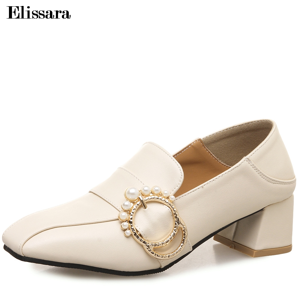 Women Med Heels Pumps Shoes Woman Fashion Spring Autumn Pearl Buckle Square Toe Shallow Valentine Shoes Plus Size 33-45 Elissara koovan women pumps high heels 2017 spring autumn tide diamond tip fine single shoes satin pearl shallow mouth women sandals