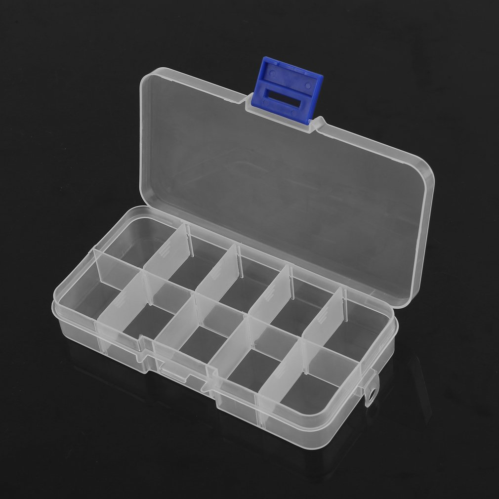 Clear 10//15 Slots Adjustable Jewelry Rings Storage Box Craft Organizer Bead Case