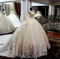 New Arrival Long Sleeves Ball Gown Wedding Dresses Applique Bridal Gowns with Cathedral Train vestito da sposa