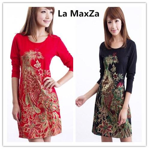 La MaxZa femmes printemps à manches longues robe vintage Phoenix broderie fête élégante robe rouge grande taille M-5XL dames sexy vestido