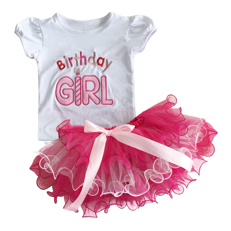Newborn Baby Girls Clothes 1 2 Years Birthday Clothes Sets White Shirt +Tutu Skirt Baby Cake Smash Outfits Infant Clothing Sets baby girl 1st birthday outfits short sleeve infant clothing sets lace romper dress headband shoe toddler tutu set baby s clothes