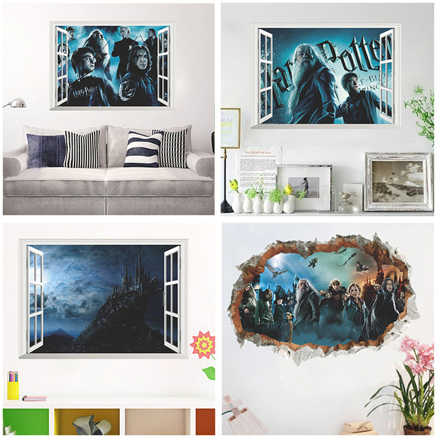 3d vivid magic harry potter window wall stickers home decor living