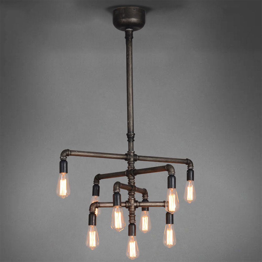American minimalist style living room bedroom lamp creative restaurant industry iron pipes 9 Edison retro chandelier korean princess wrought lamp iron bedroom led lamp american pastoral style living room children chandelier