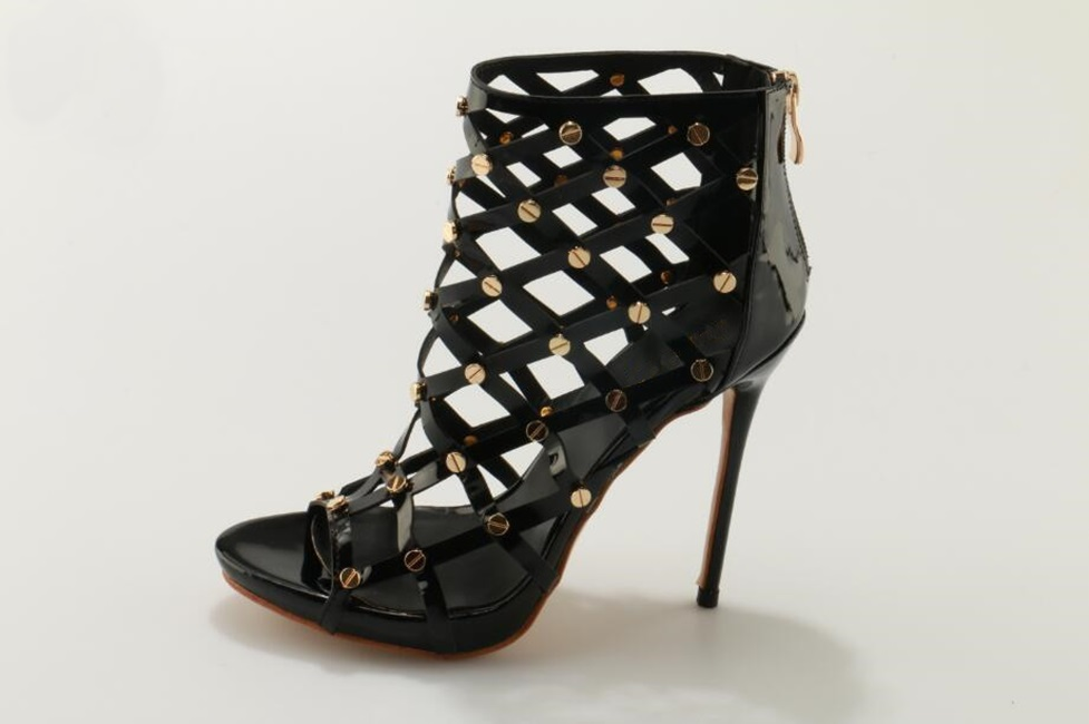 Black Patent Leather Gold Studded Cage Sandals Back Zipper Thin Heel Peep Toe Women Dress Shoes Sexy Cut-out Gladiator Sandals red patent leather strappy sandals cut out ankle strap buckle high heel shoes peep toe cage shoes women summer dress shoes