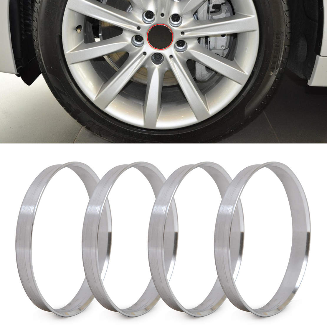 DWCX 4pcs Aluminum Hub Rings   72.6mm Hub To 74.1mm Wheel Bore   ID 72.56   OD 74 For BMW 1 3 4 5 7 Series X1, X3, X4, X5, X6