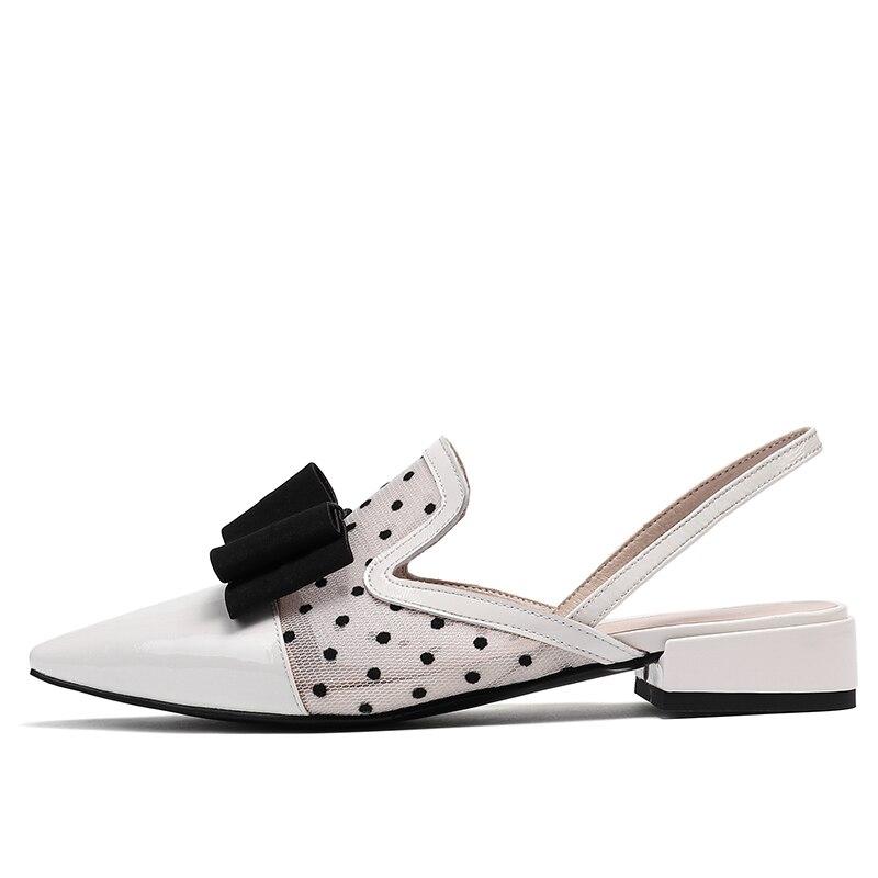 negro De Moda Puntiagudo Calzado Del Verano Zapatos Dot Bajo Sandalias Dedo Malla Beige Polka Mujeres Pie Tacón Mujer Wetkiss Las Cuero Patente 2019 AqBwnPP4W