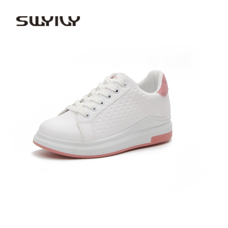 SWYIVY Sneakers Woman White Shoes 2018 Platform Leather Woman Casual Shoes Sneakers Breathable Student Canvas Shoes 40 Fashion de la chance women vulcanize shoes platform breathable canvas shoes woman wedge sneakers casual fashion candy color students