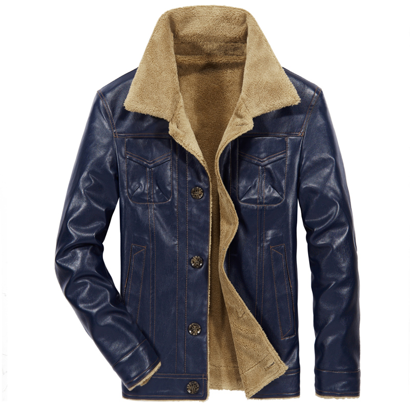 Leather Jacket Mens New Men's Leather Jacket With Fleece And Thickening Motorcycle Men's Leather Jacket