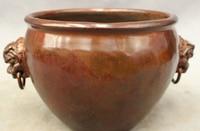 bi003122 Chinese Bronze Beast PiXiu Lion Link Statue Incense Burner Censer Pot Jar Crock