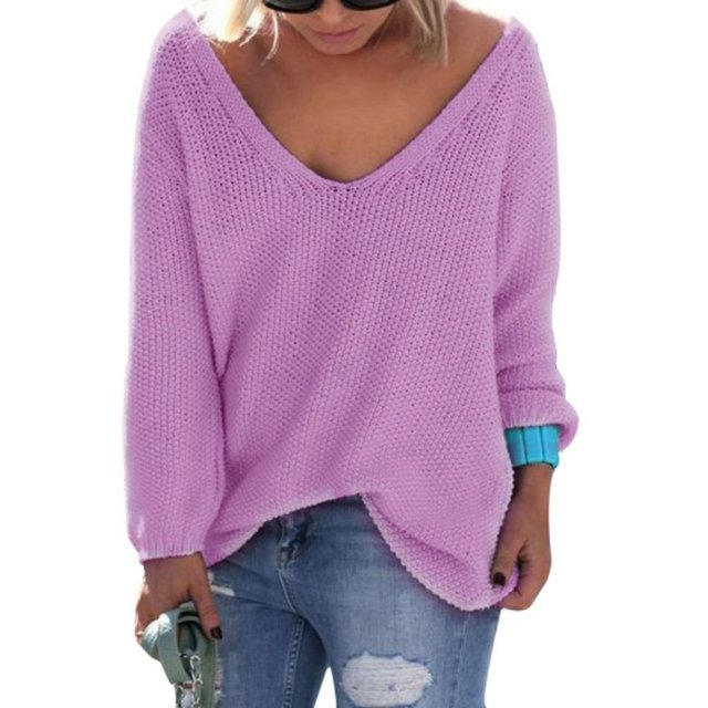 af692ceffe0a Women Casual Sweater Pullover 2018 Autumn Knitted Basic Tops Solid Loose  Essential Jumper Cute Elegant V Neck Sweaters Hot Sale