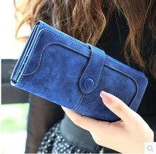2015 New Fashion Women Wallet Matte Stitching Women Long Brand Purse Clutch 9 Colour Handbag Wristlet freeshipping