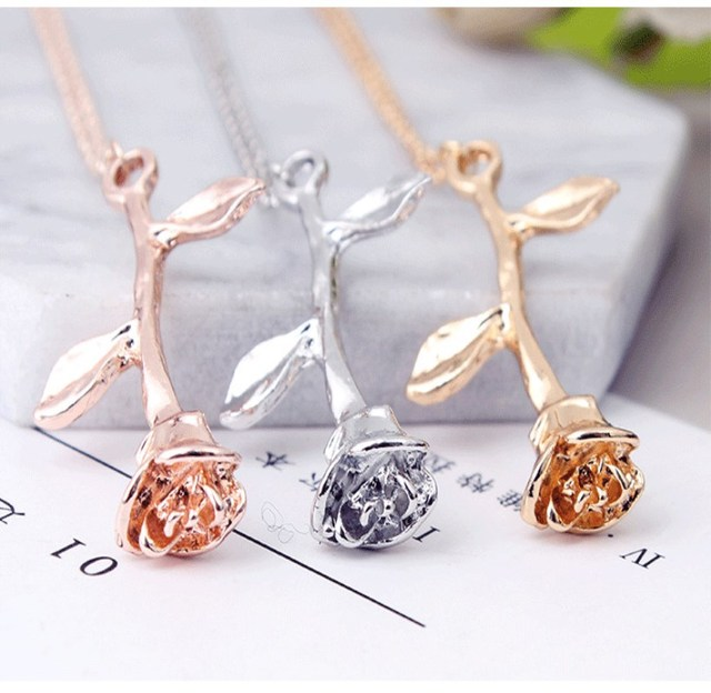 Fashion Collier Pink Gold Rose Statement Pendant Necklace Women's Beauty and Beast Jewelry Lovers Gifts 4