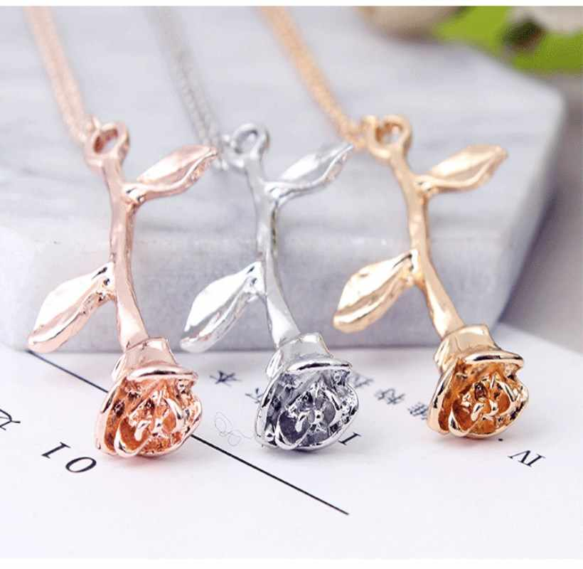 Fashion Jewelry Collier Pink Gold Rose Statement Pendant Necklace Women's Beauty and Beast Jewelry Lovers Gifts  4CND24