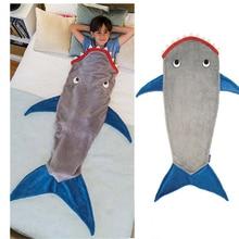 Shark Mermaid Sleeping Bag Blanket Winter Warm Fleece Mermaid Blanket Kids Mermaid Blanket Sleep Sack Birthday Gift цена
