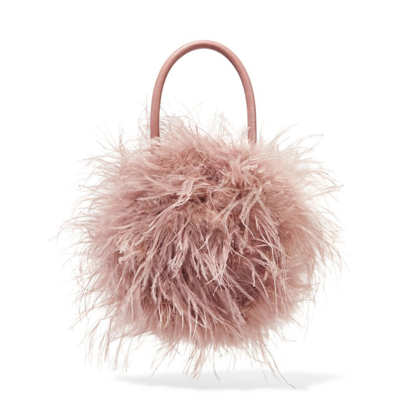 Fur bag women Luxury Designer ostrich feathers Evening party Bag Famous Brand handbag 2018 fall winter new pink green drop ship túi mini jacquemus
