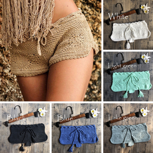 New Women Boho Knit Crochet Shorts Beach Sexy Floral Hollow Out Shorts Ladies Summer Holiday Solid Slim Mini Short Bottoms