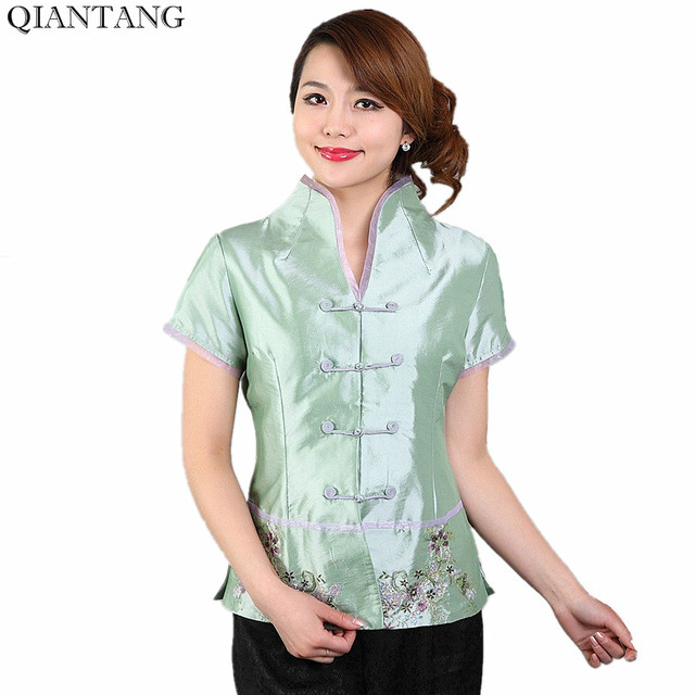 a85409ca27717b Light Green Traditional Chinese Style Women s Silk Satin Shirt Top V-Neck  Short Sleeves Flower Size S M L XL XXL XXXL Mny-006A