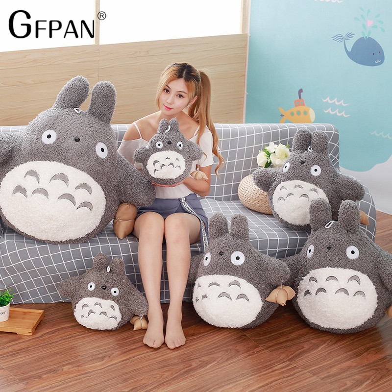 GFPAN Big Size Funny Totoro Plush Toys Famous Cartoon Totoro Soft Plush Stuffed Animal Cushion Doll Creative Gift For Children 30cm cut the rope om nom plush cartoon doll toys big size om nom plush cartoon doll toys soft stuffed cute funny game doll toy