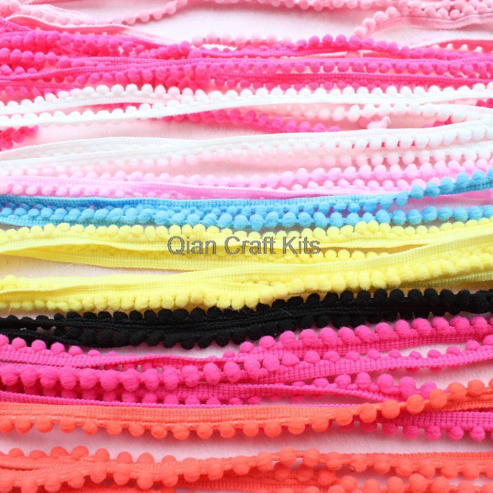 Pom Pom Trim Ball Ball Fringe Ribbon DIY Sewing Accessory Lace for Home Party Decoration QianCraftKits 30 Yards Pom Pom Trim