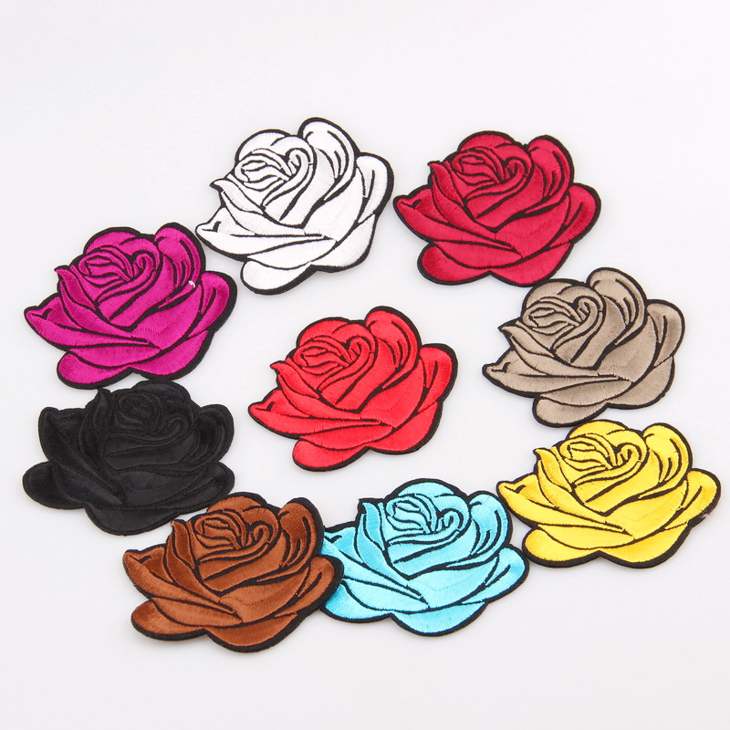New 1pcs Colorful Mixed Rose Flower Patches Iron On Or Sew For Clothes Embroidered Appliques Diy Accessory Bag Badge Apparel & Merchandise