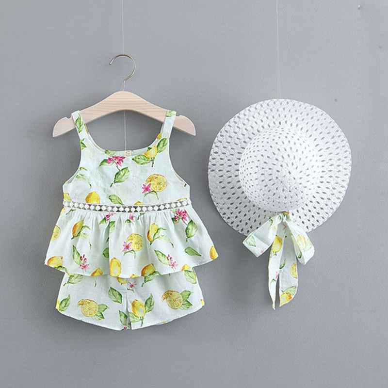 Summer kid clothes Baby Girls Clothes Fashion Floral Pattern Strap Sleeveless Tops Vest Shorts Hat Costume Set in Clothing Sets from Mother Kids