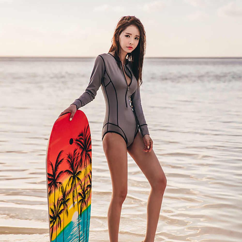 Trendi Lengan Panjang Ruam Penjaga Wanita Baju Renang Zipper One Piece Swimsuit Slim Surf Jas Hitam Menyelam Bodysuit Beachwear K Berlaku # F