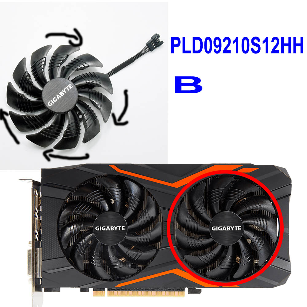 US $5 13 35% OFF|For Gigabyte GeForce GTX 1050 G1 1060 Aorus RADEON RX 580  570 470 480 GTX 960 PLD09210S12HH 88MM Graphics Card Cooling Fan-in Fans &