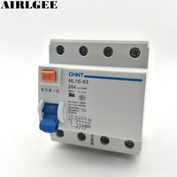 400V 25A 3Pole +N Electromagnetic Residual Current Leakage Circuit Breaker 6000A