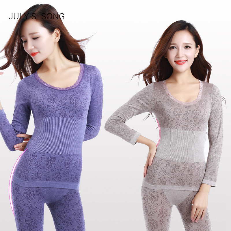 Long Johns Winter Women Sexy Thermal Underwear Suit Women Body Shaped Slim Ladies Intimate Sets Female Pajamas Warm Modal Johns