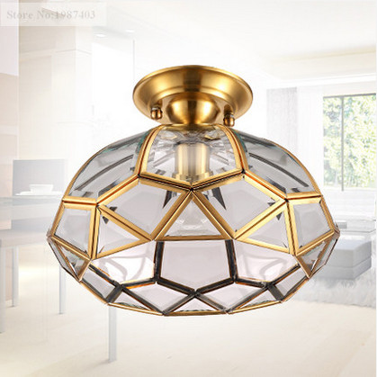 ФОТО European retro copper&crystal glass circular Ceiling lights Handwork soldering E27 LED lamp for porch&pavilion&stairs BRSXDD001