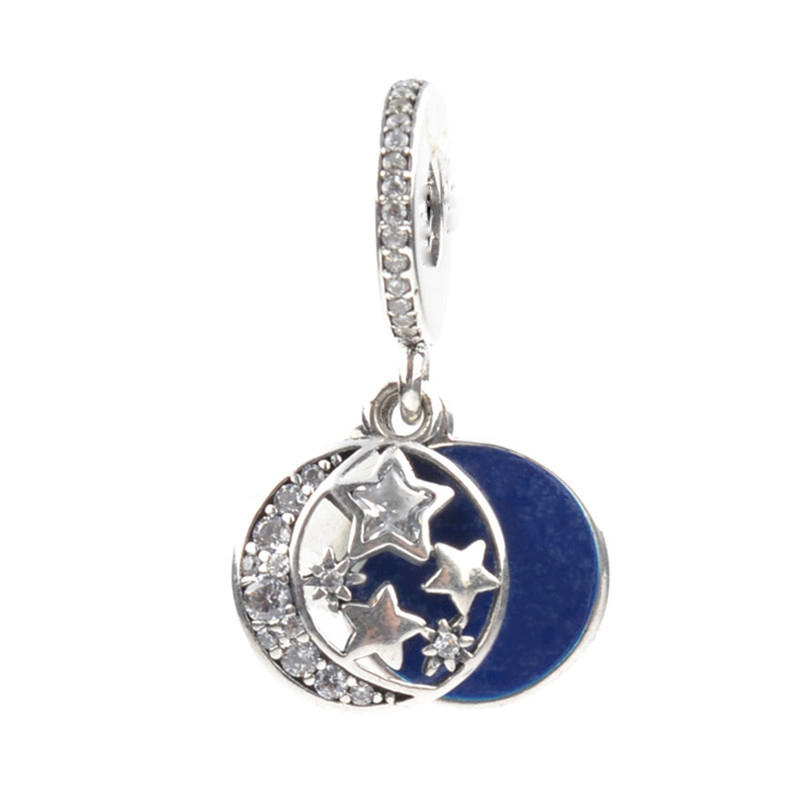 Fit Pandora Charm Necklace Original 925 Silver Charm Letter Engraved Charms With Clear Zircon Moon and Star DIY Jewelry Berloque
