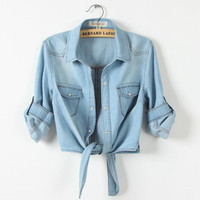 2016 New Fashion Women Denim Shirt Female Sweep Tieclasps Lacing Denim Outerwear Cardigan Short Design For