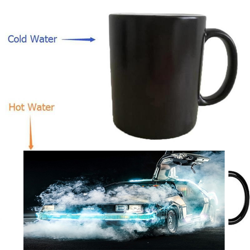 Back to the Future DeLorean supercar mug magic mugs coffee mug heat reveal Heat sensitive mugs