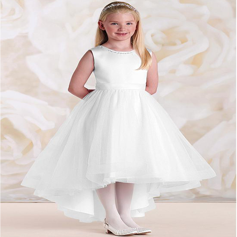 White And Ivory Long Flower Girls Dresses for Wedding A-Line Spring Pretty Mother Daughter Dress Tulle Pageant Dresses for Girls white and ivory lace flower girls dresses for wedding a line spring pretty mother daughter dress tulle pageant dresses for girls
