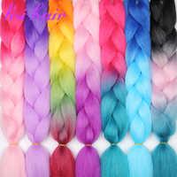 LISI cheveux 24 pouces Jumbo tresses longue Ombre Crochet cheveux synthétique tressage cheveux blond rose bleu 88 sortes de mode coiffures