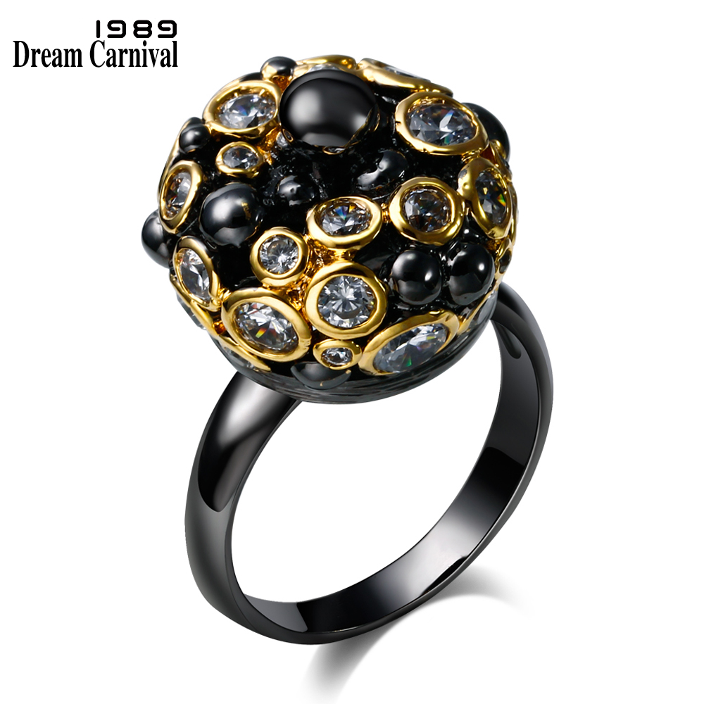 DREAMCARNIVAL 1989 Designer Royal Crown Gothic Vintage Rings for Women Black Bishop Zircon Engagement Anillos Moda Size 7 8 9 10