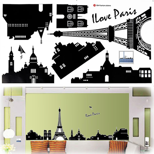Diy Eiffel Tower Home Wall Sticker Mural Paris Room Decor Art Vinyl Decal Black