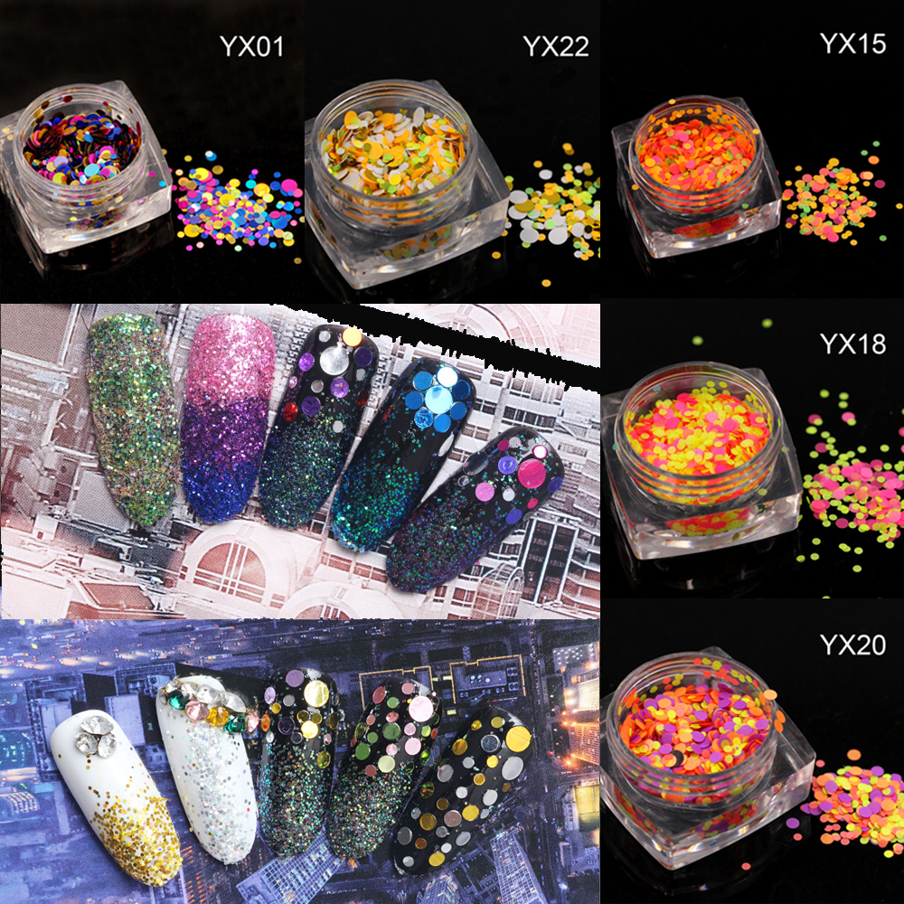 1g Hot Fashion 2017 Nail Glitter Mixed Colorful Mini Round Nail Art Tips Paillette Decoration Nail Art Thin Round Sticker