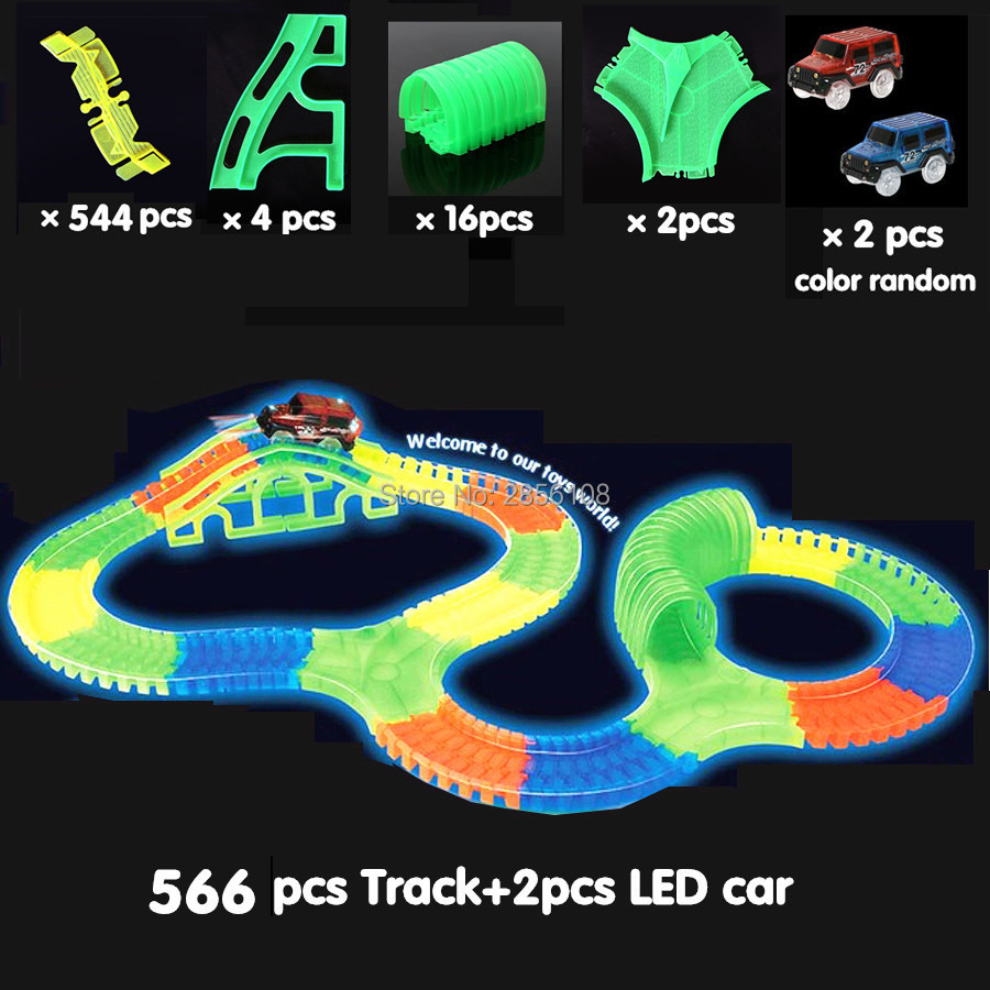 Glowing race track car Bend Flex Glow in the Dark Assembly Toy 470566PCS Slot Race Track + 1PC LED Car Puzzle Educational Toys