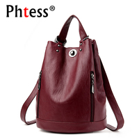 2018 Women Leather Backpack Mochila Escolar School Bags Backpack For Teenagers Girls Multifunction Shoulder Bags Sac